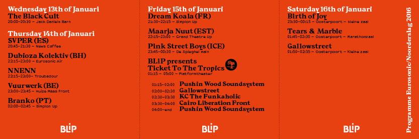 BLiP roster, Eurosonic Noorderslag 2016