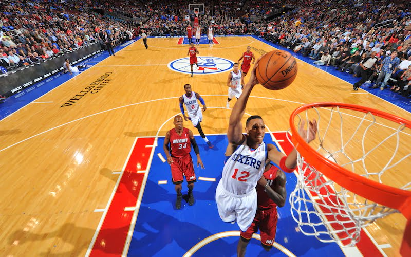 PHILADELPHIA, PA - OCTOBER 30: Evan Turner #12 # of the Philadelphia 76ers attempts a shot against the Miami Heat at the Wells Fargo Center on October 30, 2013 in Philadelphia, Pennsylvania. NOTE TO USER: User expressly acknowledges and agrees that, by downloading and or using this photograph, User is consenting to the terms and conditions of the Getty Images License Agreement. Mandatory Copyright Notice: Copyright 2013 NBAE (Photo by Jesse D. Garrabrant/NBAE via Getty Images)