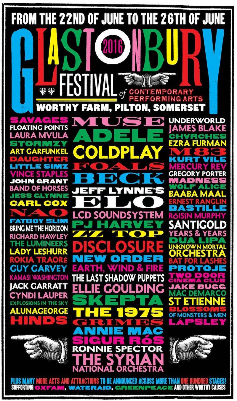 Glastonbury Festival 2016 line-up poster 1