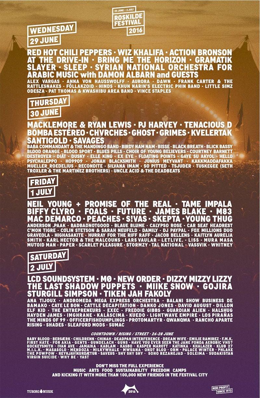 Roskilde Festival 2016 line-up poster