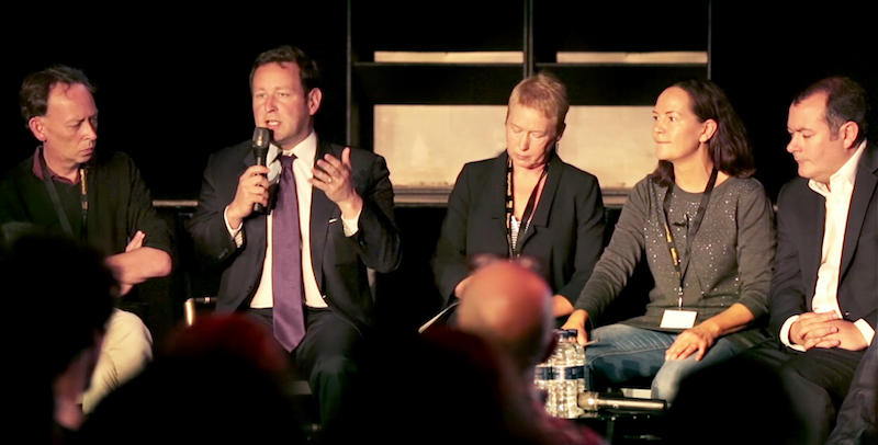 UK Music CEO Jo Dipple; Ed Vaizey MP, the UK's former culture minister; Michael Dugher MP, the former shadow culture minister; Joyce Wilson of Arts Council England; and BBC 6 Music's Steve Lamacq, Venues Day 2016, Ministry of Sound, Music Venue Trust