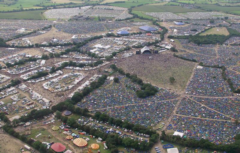 Glastonbury 2002 overhead, Worthy Farm, Chris Drake