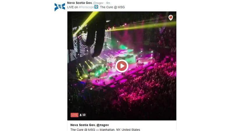 The Cure live stream Nova Scotia government screenshot