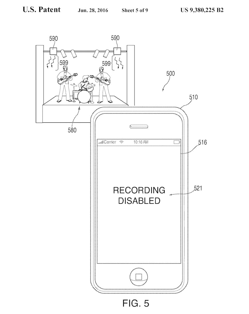 Apple iPhone patent 9,380,225, fig. 5