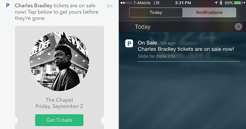 Concert discovery recommendations, Ticketfly, Pandora
