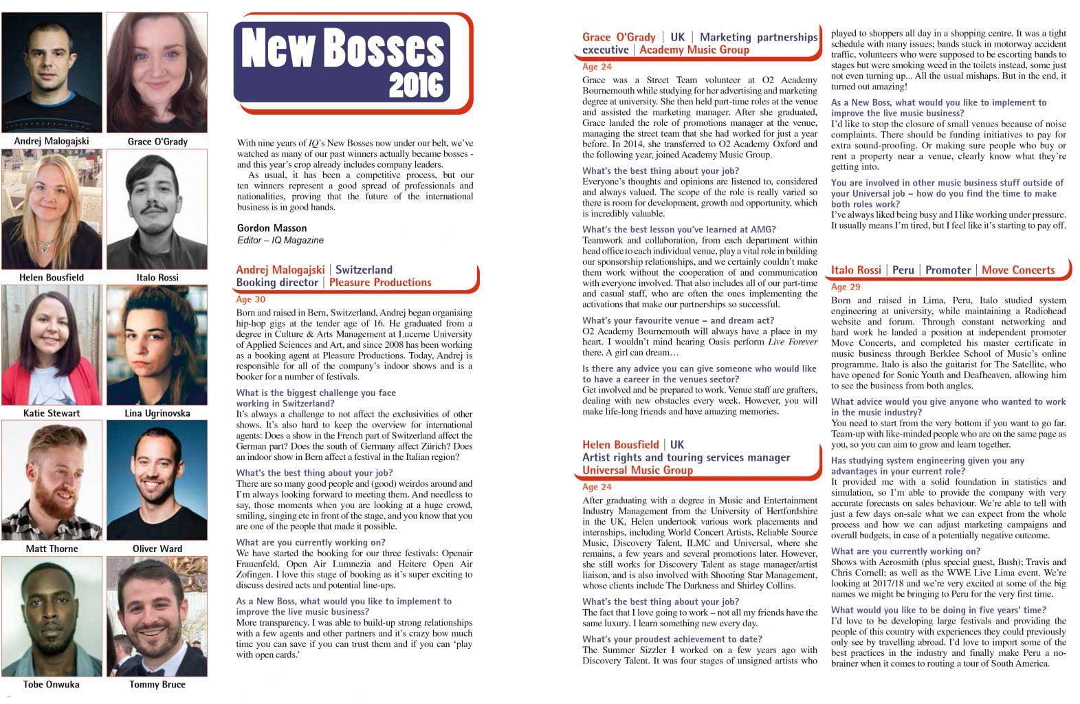 New Bosses 2016