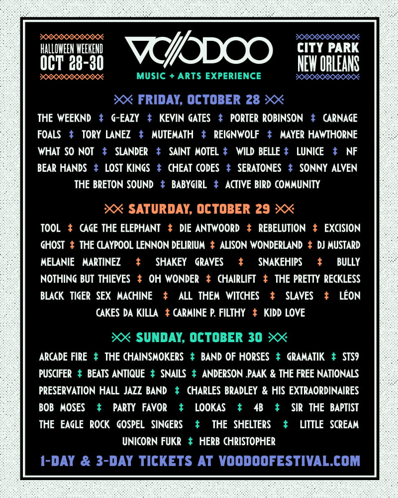 Voodoo Music and Arts Experience 2016 line-up