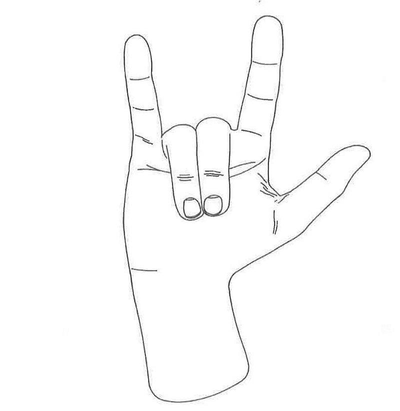 Gene Simmons devil's horns trademark diagram