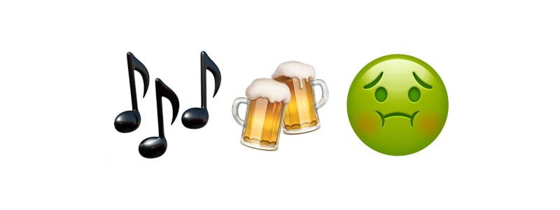 Music beers sick emoijs, Dice hangover days