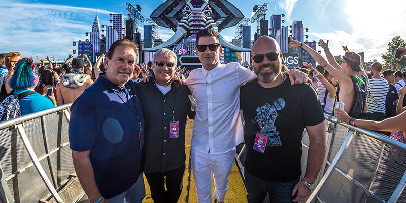 L–R: LiveStyle's Chuck Ciongoli, Randy Phillips, Gary Richards and Michael Julian at Electric Zoo 2017