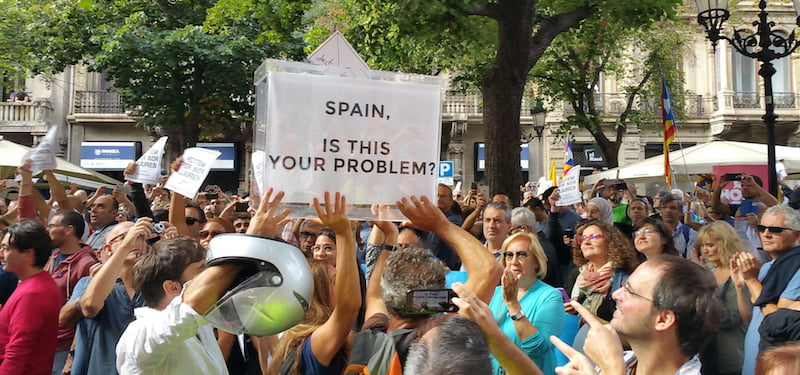 Pro-independence protesters, Barcelona, Catalonia, Spain