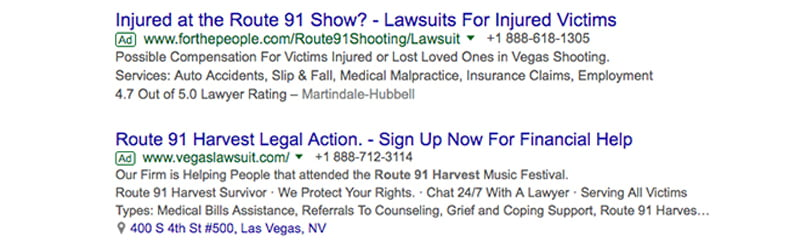 Route 91 sponsored lawsuit ads