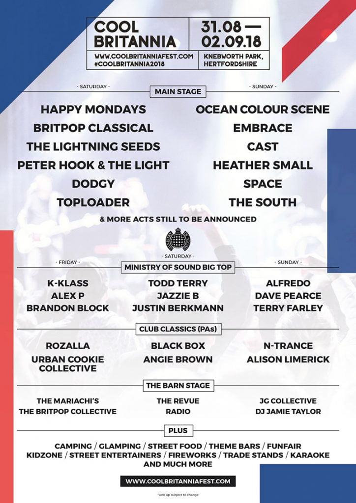 Cool Britannia 2018 line-up