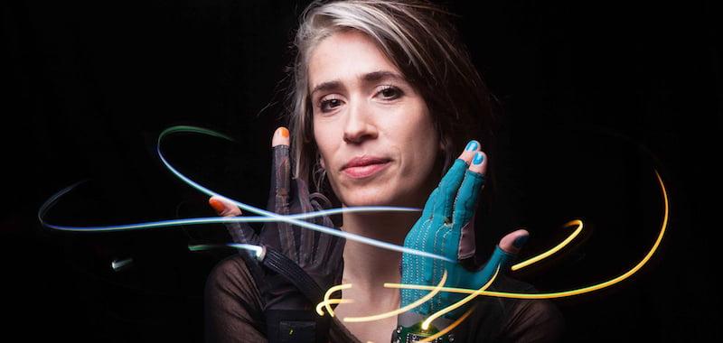 Heap wearing her Mi.Mu gloves, which turn hand gestures into music