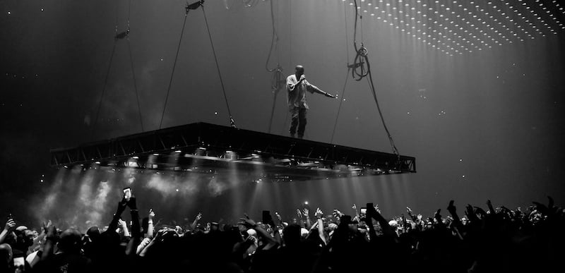 Kanye West performing in Boston on the Saint Pablo tour
