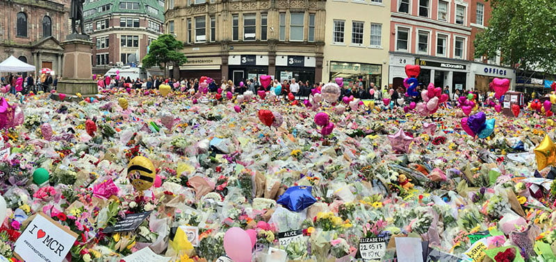 Floral tributes to the victims of the attack in St Ann's Square in Manchester city centre, Kerslake review