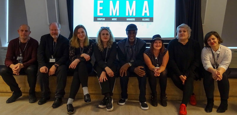 EMMA launch: Per Kviman (MMF Sweden), Eivind Brydoy (NEMAA), Ania Kasperek (MMF Poland), Cecilie Torp-Holte (NEMAA), Harris, Coldrick, Virpi Immonen (MMF Finland), Magdalena Jensen (MMF Poland)