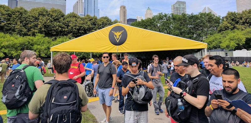 Players in Grant Park for Niantic's Pokémon Go Fest