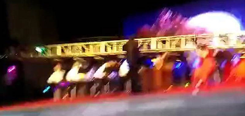 Grainy footage shows the collapse of the truss in Xuchang