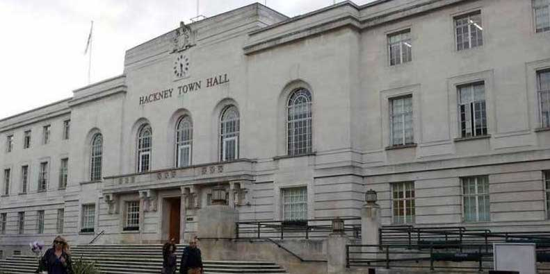 Protesters gathered outside Hackney Town Hall to demonstrate against the curfew