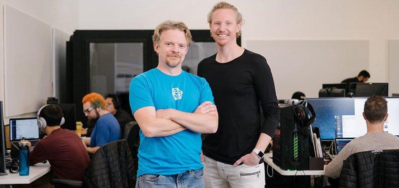 Caffeine founders Sam Roberts (left) and Ben Keighran