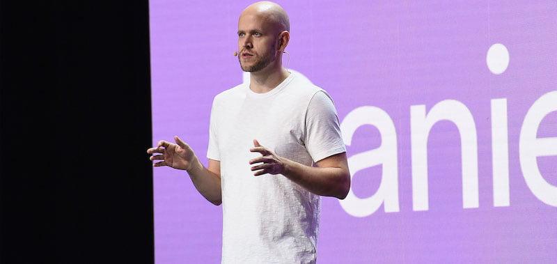 Daniel Ek addresses delegates to Spotify's March 2018 investor day