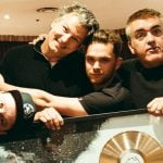 Harrison pictured with Royal Blood and Warner Music Aus's Billy McLeod (right) earlier this year