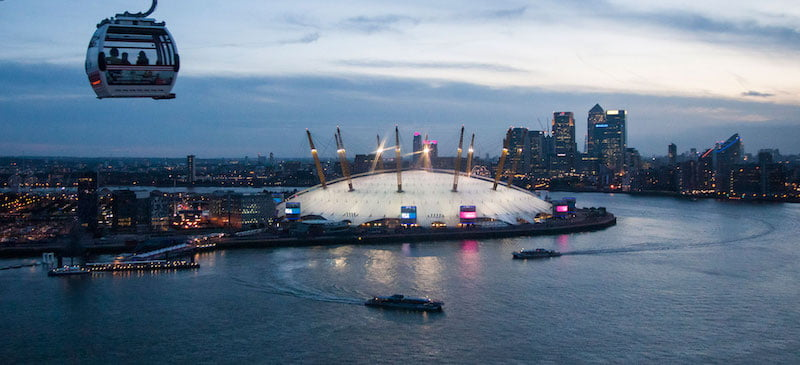 The O2, as viewed from the Emirates Air Line