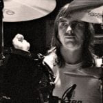 Phil Rudd performs with AC/DC in 1982