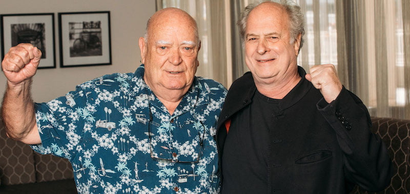 Michael Chugg (left) and Michael Gudinski