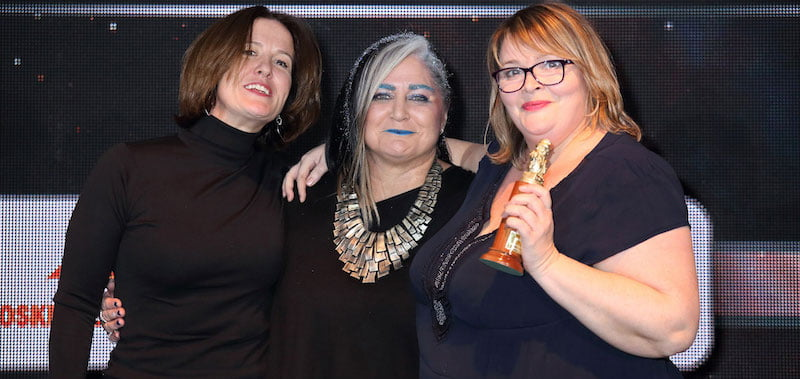 Park (right) with Live Nation's Selina Emeny and CAA's Emma Banks at the Arthurs 2018