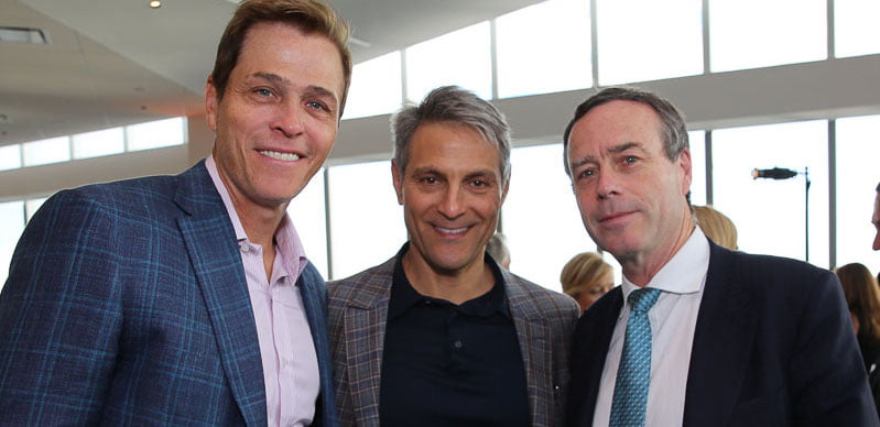 L–R: Endeavor exec chairman Patrick Whitesell and CEO Ari Emanuel with ex-FT editor Lionel Barber