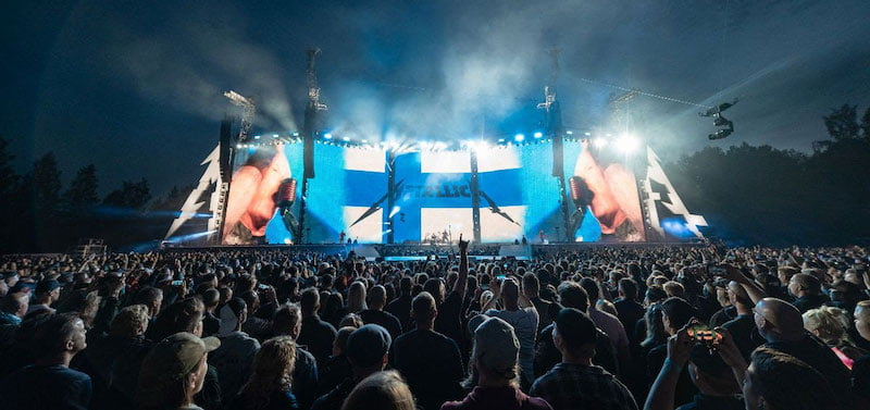 Metallica performs at Kantola Event Park in Hämeenlinna on 16 July, part of the WorldWired world tour