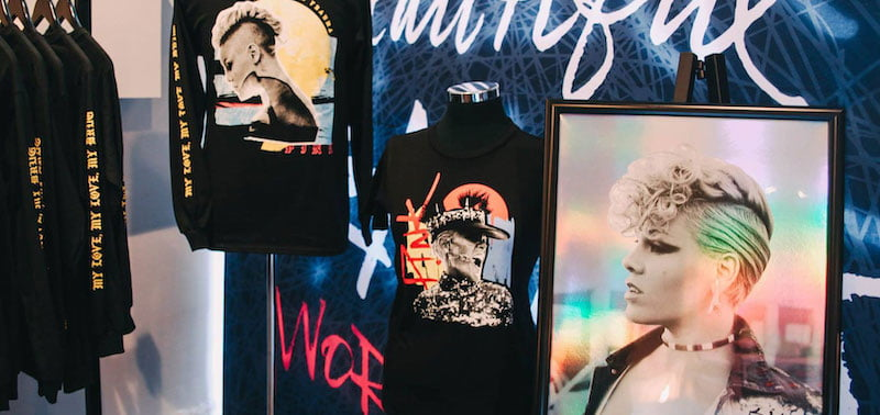 Araca merch at the Pink pop-up store in Melbourne last year