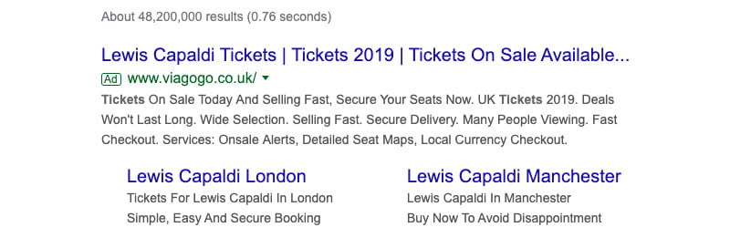 Lewis Capaldi tickets Viagogo search result