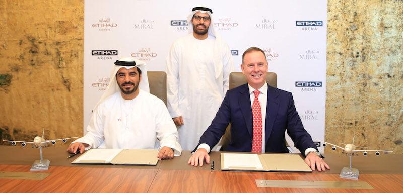 Etihad Arena team. L–R: Al Zaabi, Abu Dhabi tourism department head Mohamed Khalifa Al Mubarak, Douglas