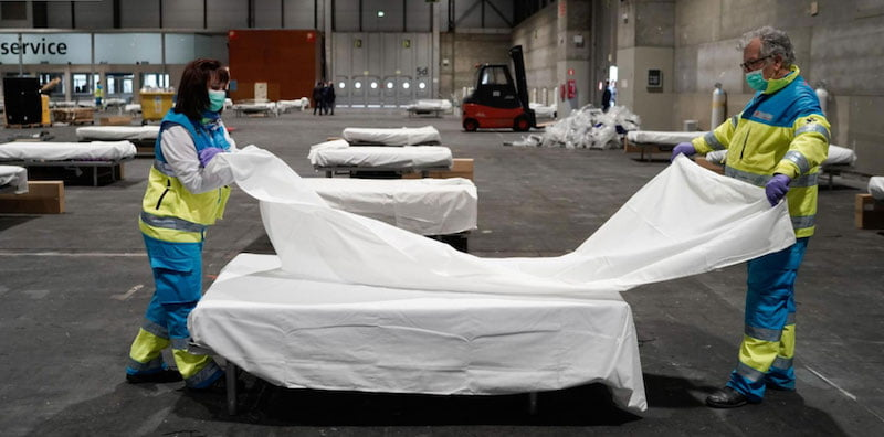 Hospital beds are installed at Ifema Madrid