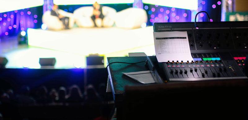 bokeh shot of black audio mixer