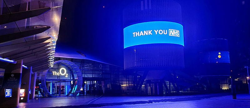 The O2 lit up blue to thank NHS workers on 25 March