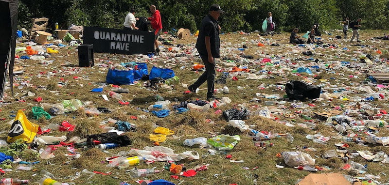 The aftermath of the 'quarantine rave' at Daisy Nook, Manchester