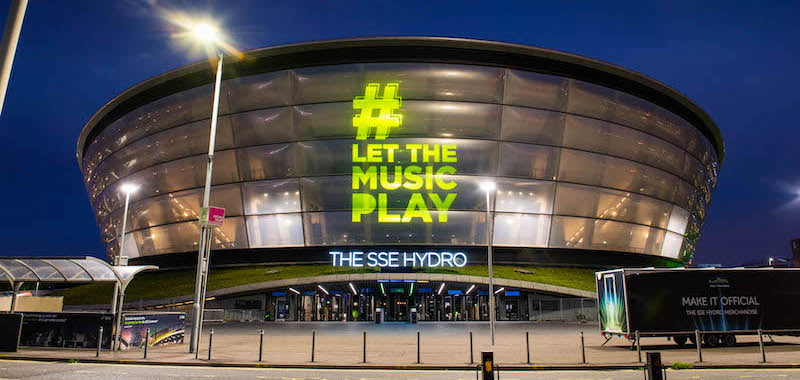 The SSE Hydro, one of many venues lit up overnight