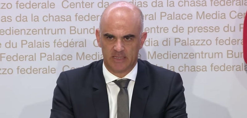 Switzerland's health minister Alain Berset addresses media on 12 August
