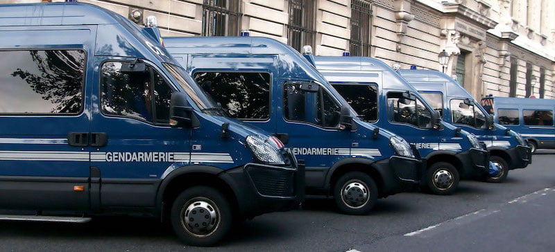 Mobile gendarmes were sent to lock down the rave on Sunday afternoon