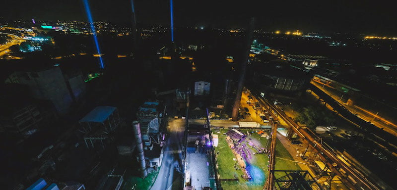 Columns of light at the NeFestival marked the location of Colours of Ostrava's vacant stages