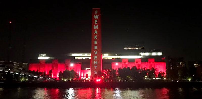 Tate Britain illuminated for #WeMakeEvents