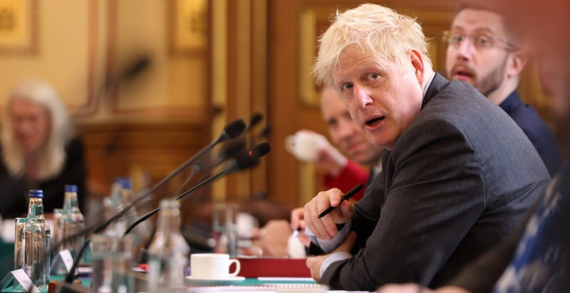 Johnson chairs a cabinet meeting this afternoon