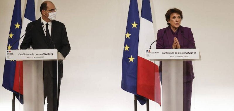 Culture minister Roselyne Bachelot (right) speaks at Thursday's press conference