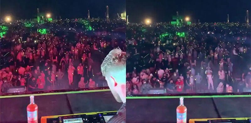 Video shared by the Chainsmokers' manager, Adam Alpert, shows a non-socially distanced crowd