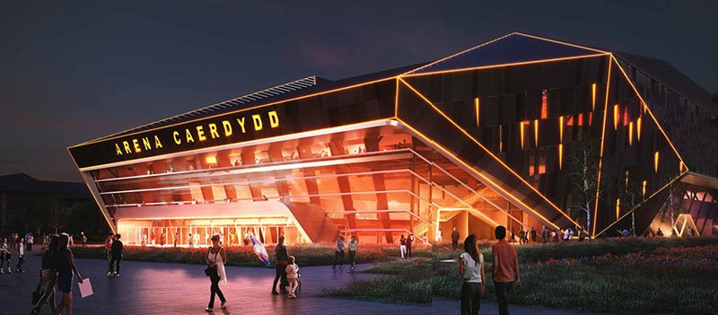 An artist's impression of the proposed Arena Caerdydd (Cardiff Arena)