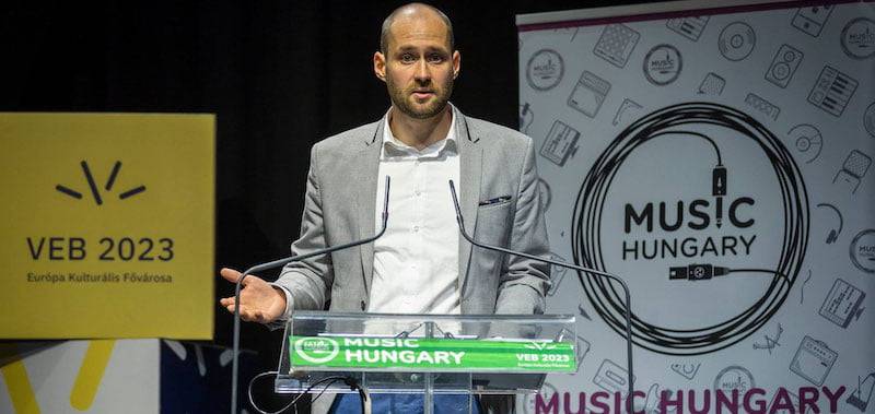 PwC's Dávid Szilágyi speaks at the Music Hungary Conference
